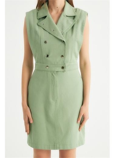 Robin Robin Çıt Çıt Detaylı Cepli Jean Elbise Mint Yeşil